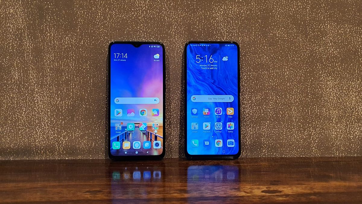 The Redmi Note 8 (left) comes with a water drop notch while the Honor 9x (right) offers a full view display.