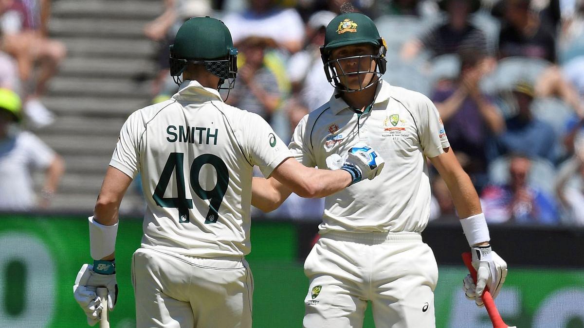 Australia's Marnus Labuschagne (right) and Steve Smith (left) during their partnership.