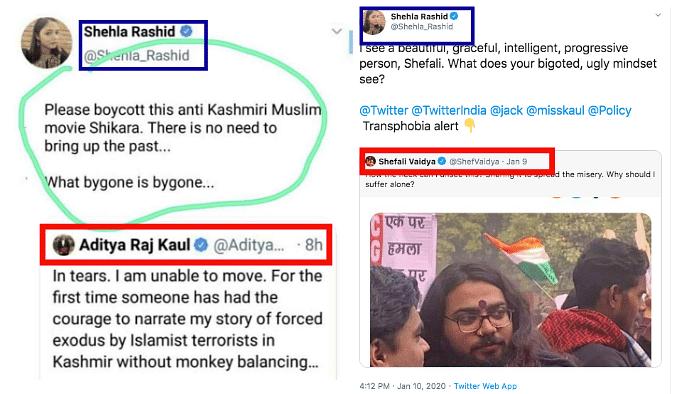 Left: Viral Screenshot. Right: Tweet shared by Shehla Rashid.