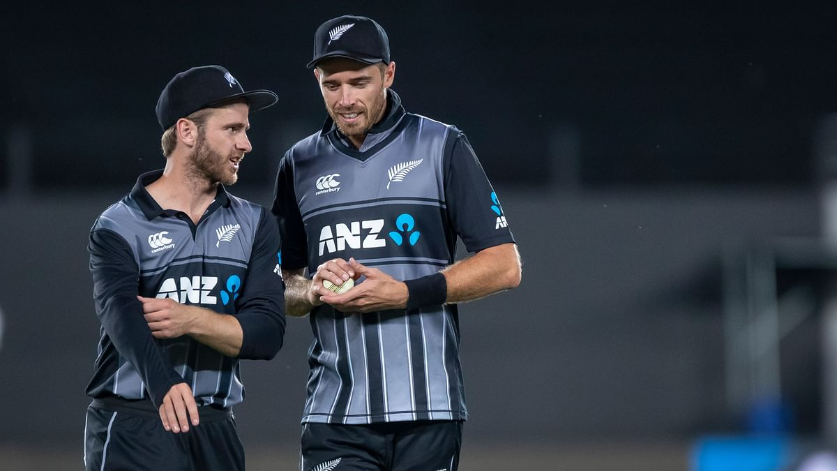 New Zealand skipper Kane Williamson (left) was ruled out of the Wellington tie with a left-shoulder injury and Tim Southee led the side instead.