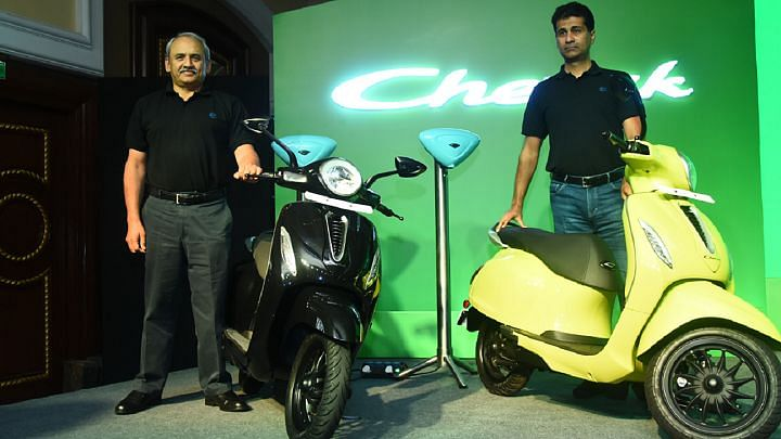 Rakesh Sharma, ED, Bajaj and Rajiv Bajaj, MD with the Bajaj Chetak Electric scooter.