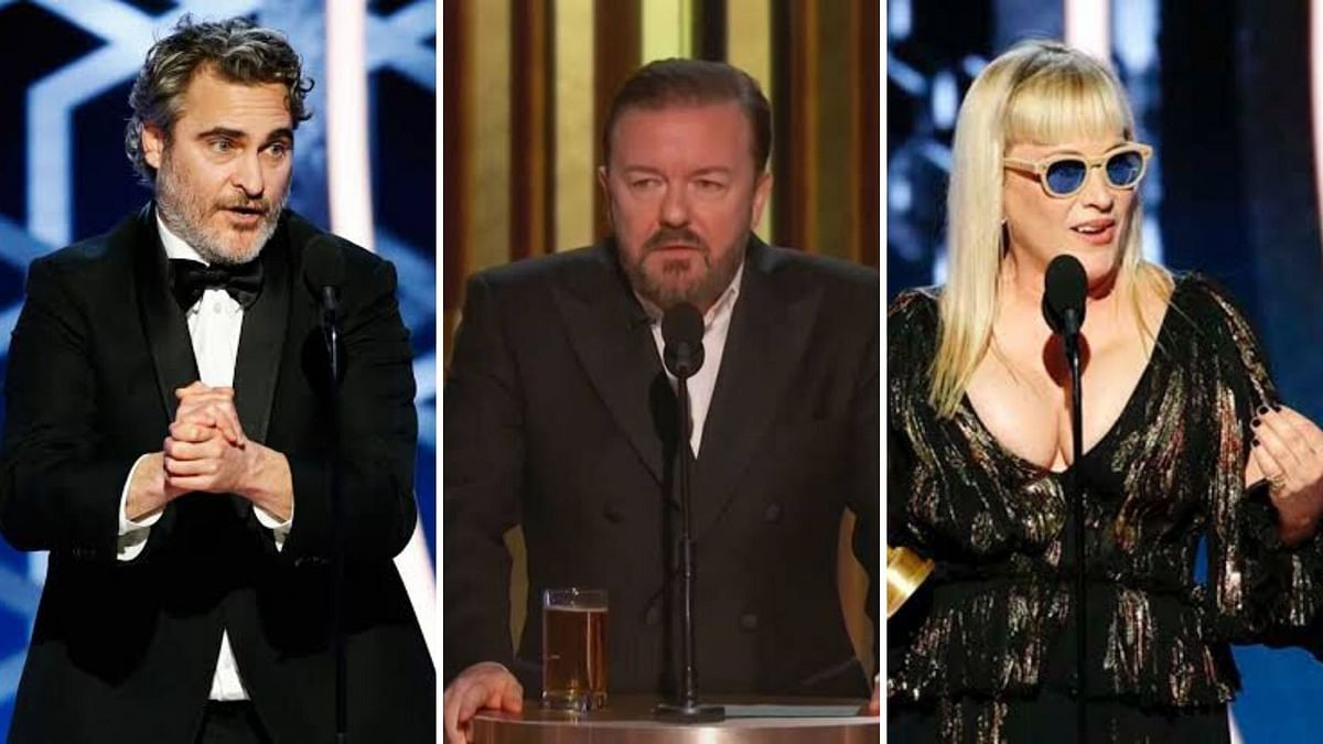 Joaquin Phoenix, Ricky Gervais and Patricia Arquette at Golden Globes 2020.
