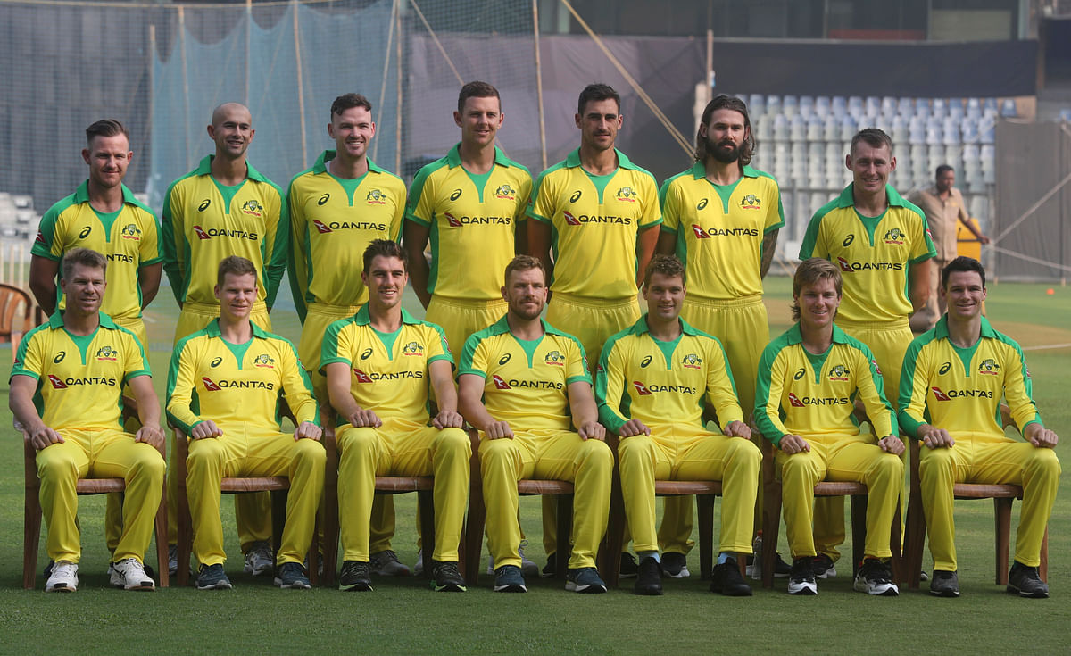 The Australian cricket team take a team picture ahead of the ODI series in India.