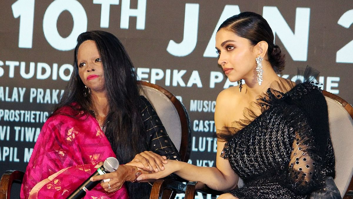 Deepika and Laxmi at the title track launch for <i>Chhapaak.&nbsp;</i>
