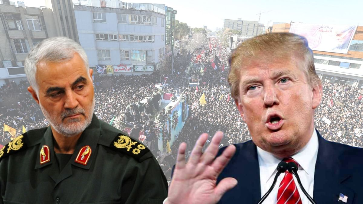 Slain Iranian military commander Qasem Soleimani (L) and US President Donald Trump (R)