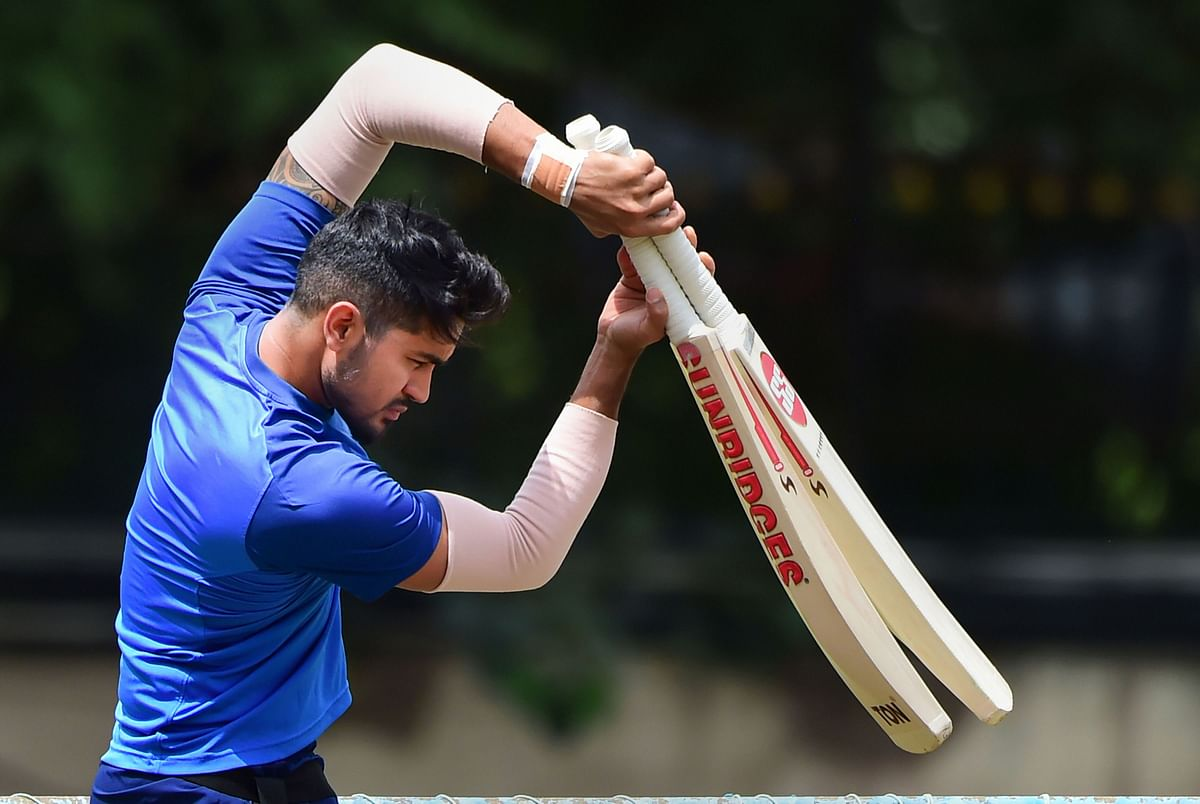 File picture of Manish Pandey at a Team India training session.