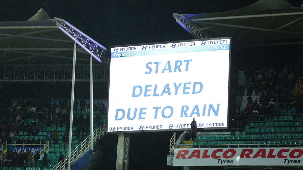 The first T20I between India and Sri Lanka was washed out without a ball being bowled.