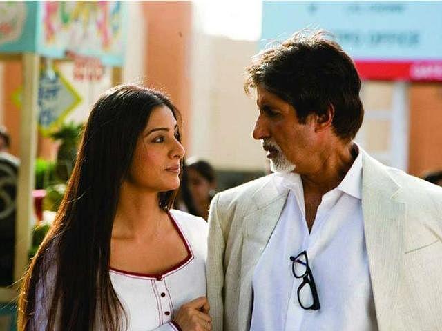 Amitabh Bachchan and Tabu in a still from <i>Cheeni Kum.</i>