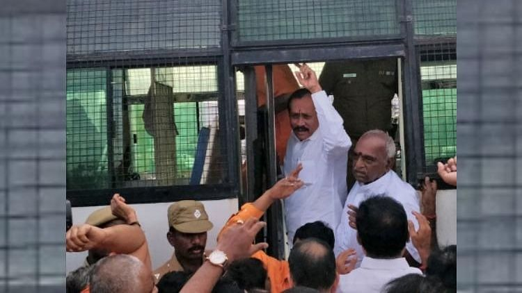 H Raja being taken into custody by the Tamil Nadu police.