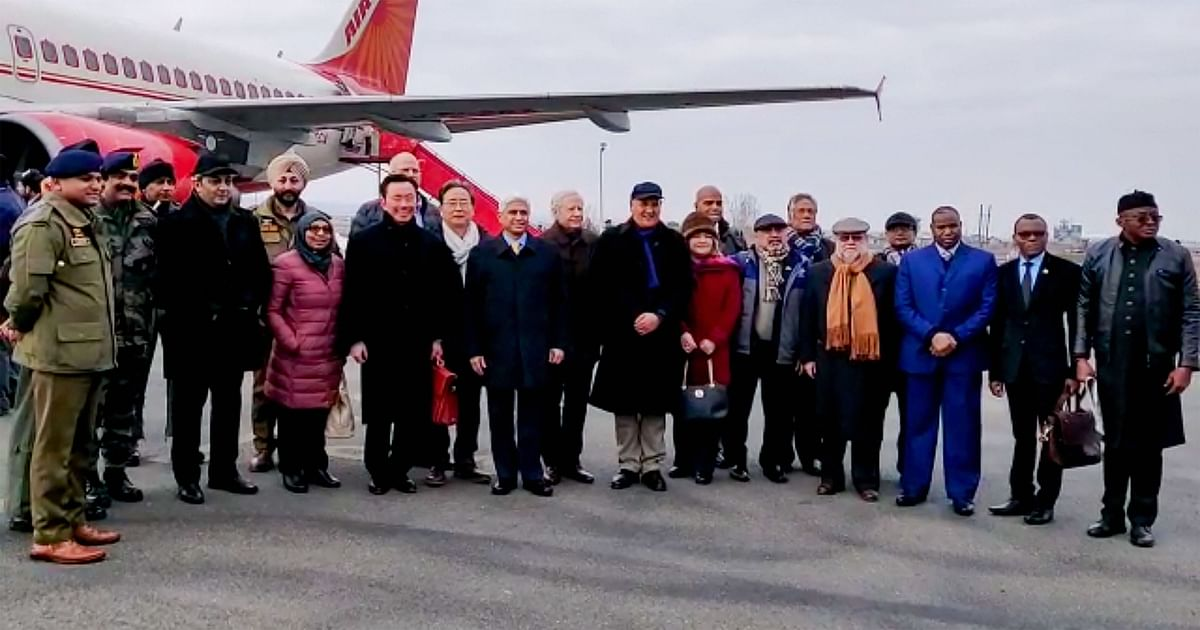 US envoy to India Kenneth I Juster and other diplomats from 15 countries on their arrival at the airport in Srinagar.