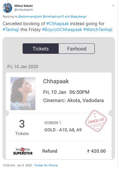 Screenshot  of a user claiming he cancelled his  bookings for the Deepika Padukone starrer, 'Chhapaak'.
