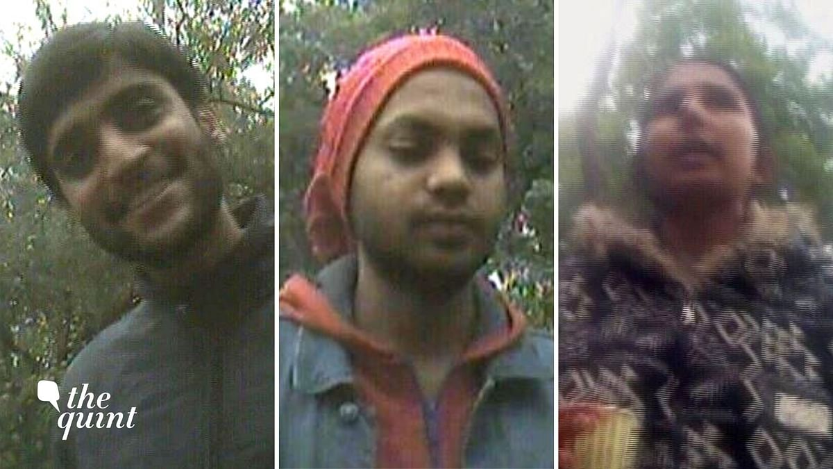 JNU students Akshat Awasthi (left), Rohit Shah (centre) and Geeta Kumari (right) have been named in the India Today sting operation.