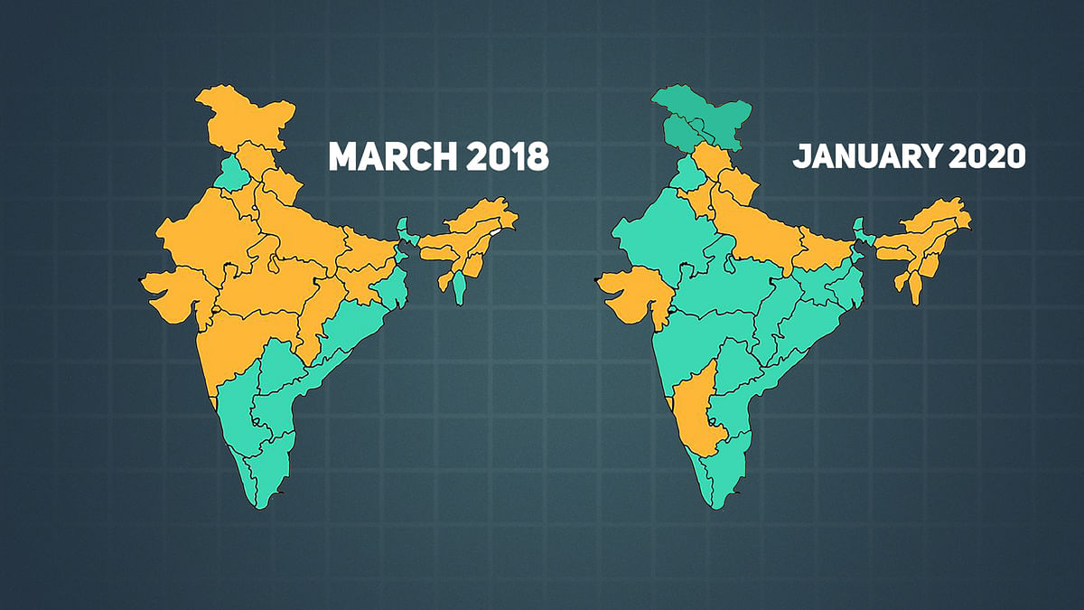 Map of India in March 2018 and January 2020 in terms of the states ruled by the BJP or BJP-coalition.