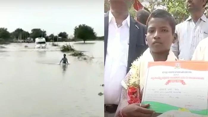 Venkatesh escorting the ambulance through flooded waters.