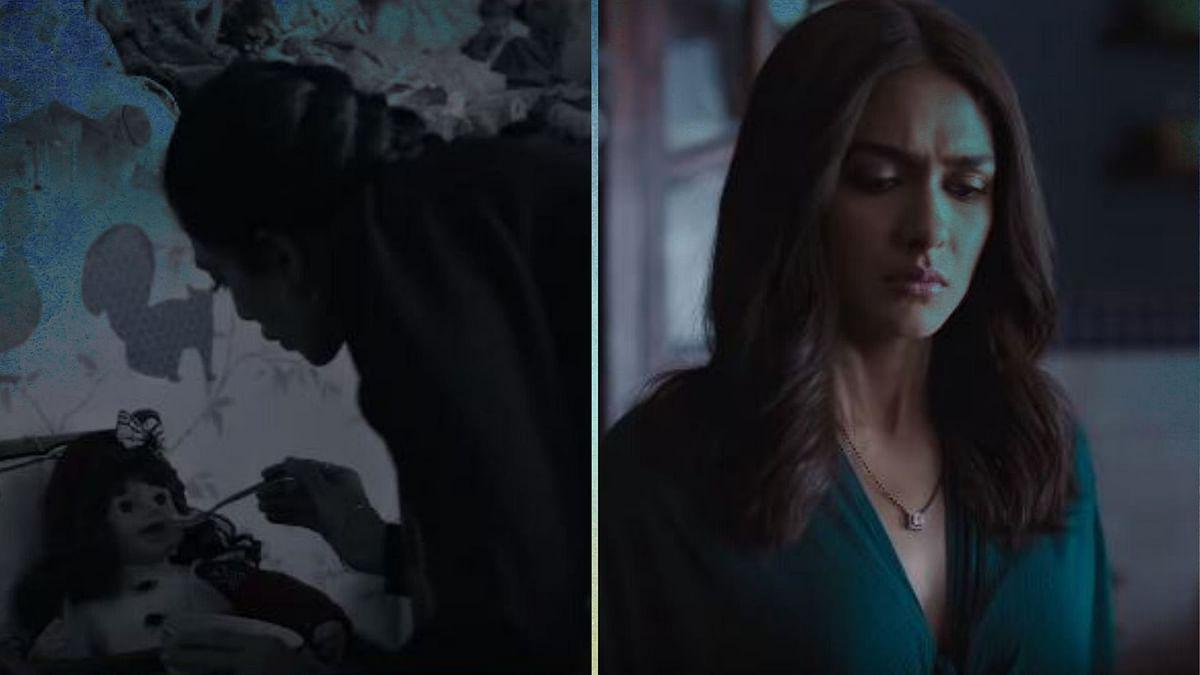 Sobhita Dhulipala and Mrunal Thakur in stills from <i>Ghost Stories</i>