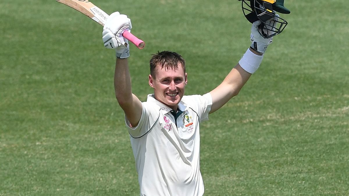 Australia's Marnus Labuschagne celebrates his double century 200 not out, on day two of the third cricket test match between Australia and New Zealand at the Sydney Cricket Ground, Sydney, Australia. Saturday Jan. 4 2020