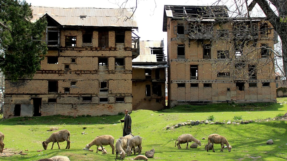 Archival image of an abandoned house of a Kashmiri Pandit used for representational purposes.