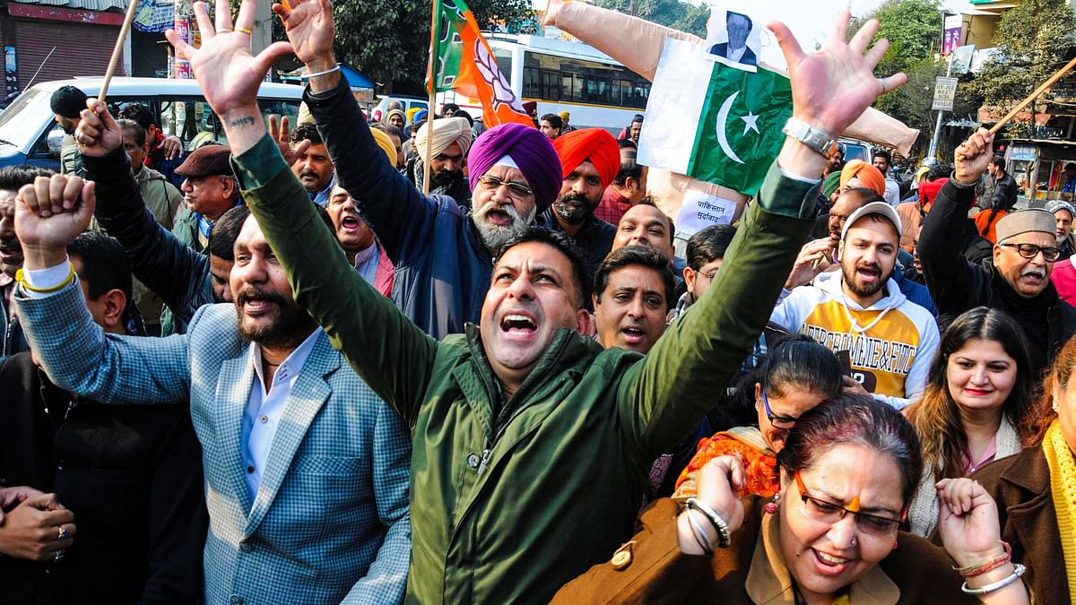BJP workers shout slogans during a protest against Pakistan over alleged attack at on Pakistans Nankana Sahib Gurdwara.