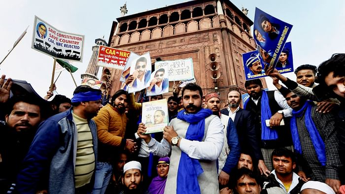 New Delhi: Bhim Army Chief Chandrasekhar Azad holds a copy of the Indian Constitution during a protest against Citizenship (Amendment) Act at Jama Masjid in New Delhi, Friday, 17 January, 2020.