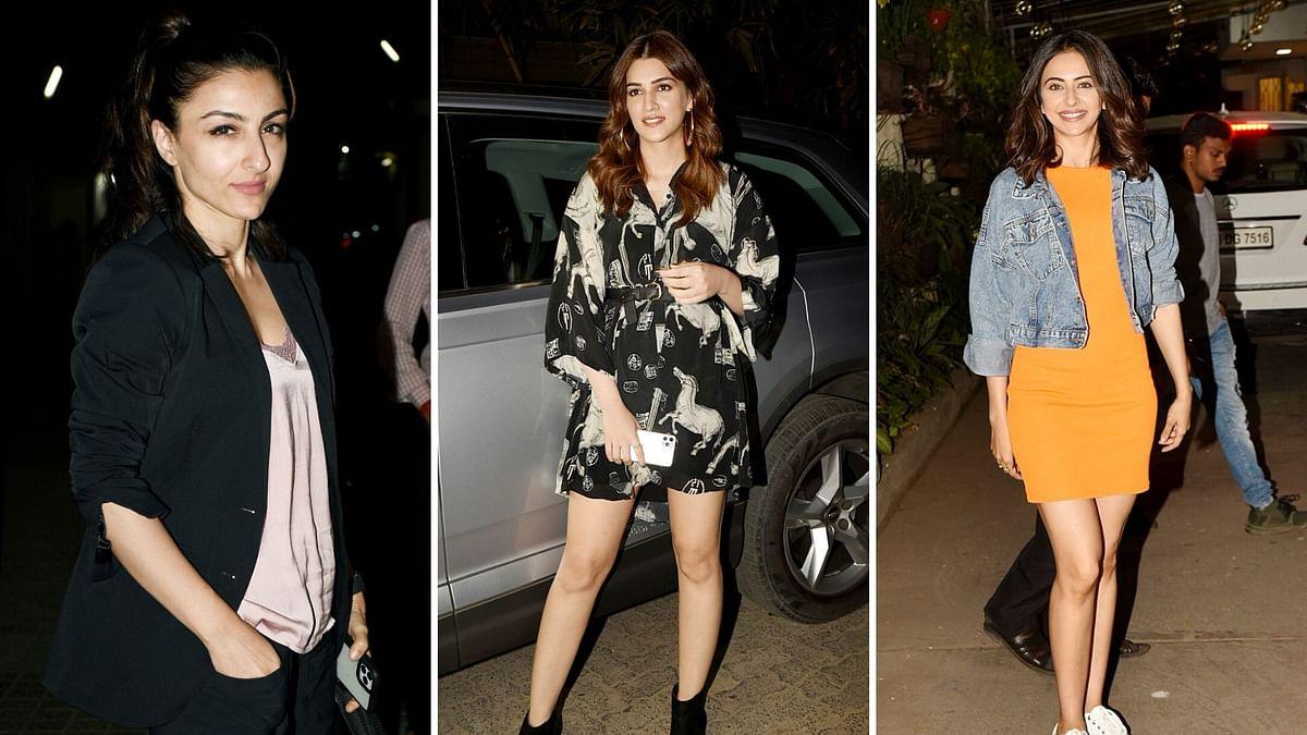 Pics: Soha, Kriti, Rakul Preet Attend 'Jawaani Jaaneman' Screening