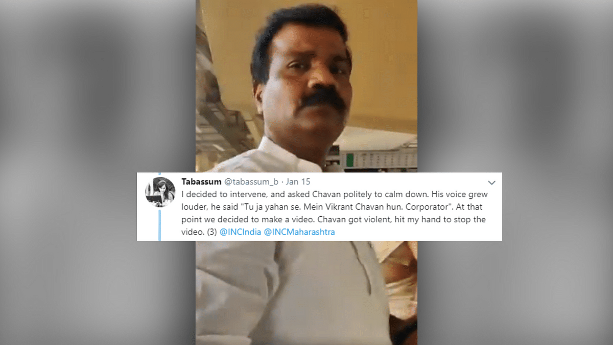 Vikrant Chavan, a Congress corporator from the Thane Municipal Corporation, misbehaved with Mumbai Metro personnel and a journalist.