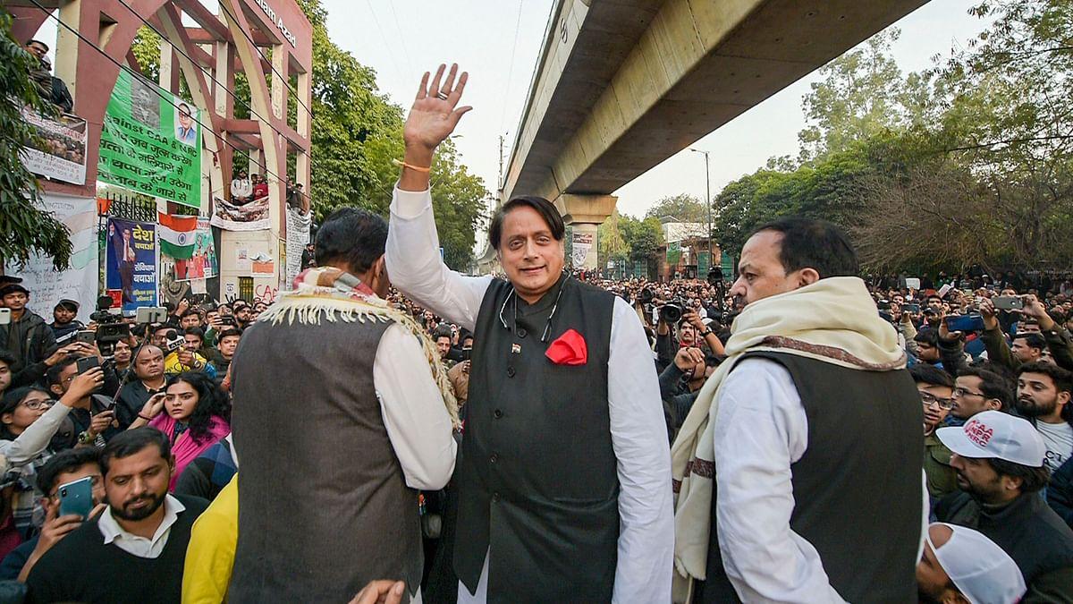 Congress MP Shashi Tharoor during a demonstration against Citizenship (Amendment) Act, outside Jamia Milia Islamia University in New Delhi.