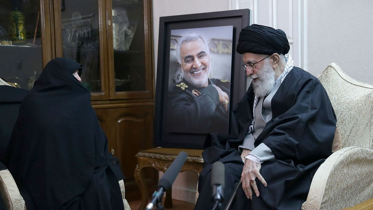 Iran Supreme Leader Ayatollah Ali Khamenei, right, meets family of Iranian Revolutionary Guard Gen. Qassem Soleimani, who was killed in the US airstrike in Iraq. Image used for representation.