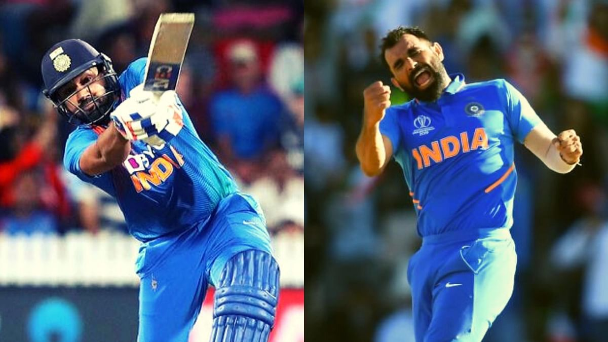 Rohit Sharma (left) finished things off in style for India after Mohammed Shami's excellent last over had helped India tie the third T20I against New Zealand on Wednesday, 29 January.