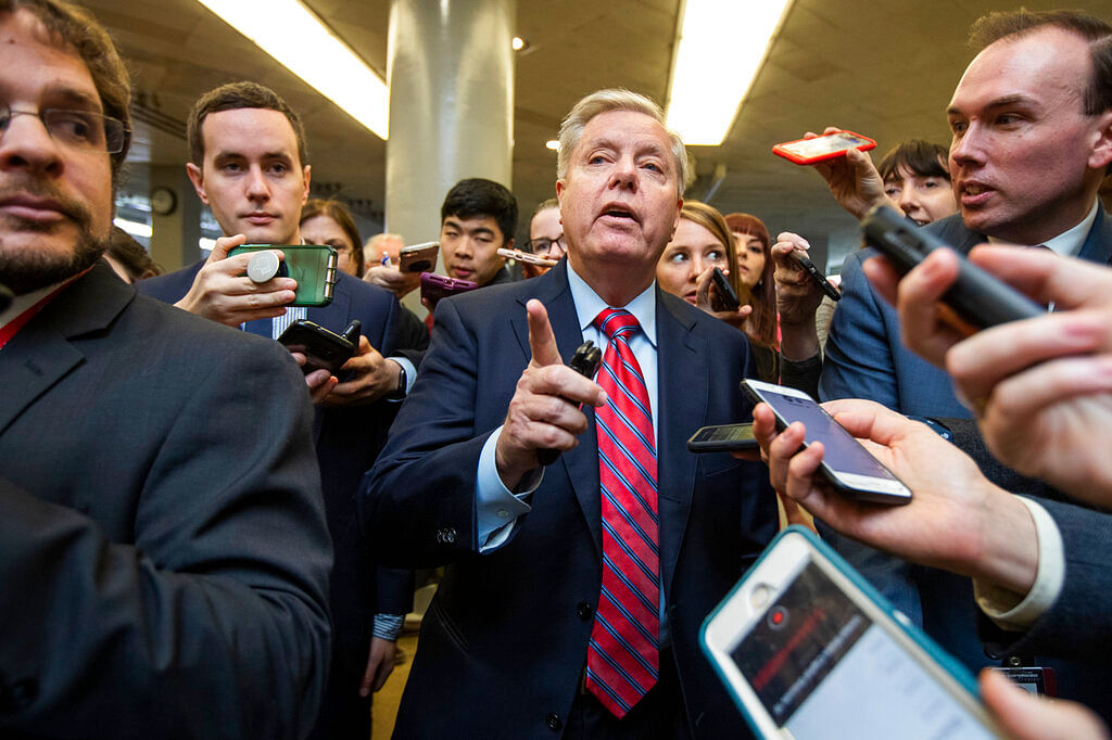Senator Lindsey Graham speaks to reporters at the Capitol in Washington on 28 January.