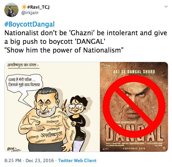 A tweet calling to boycott Aamir Khan's <i>Dangal.&nbsp;</i>