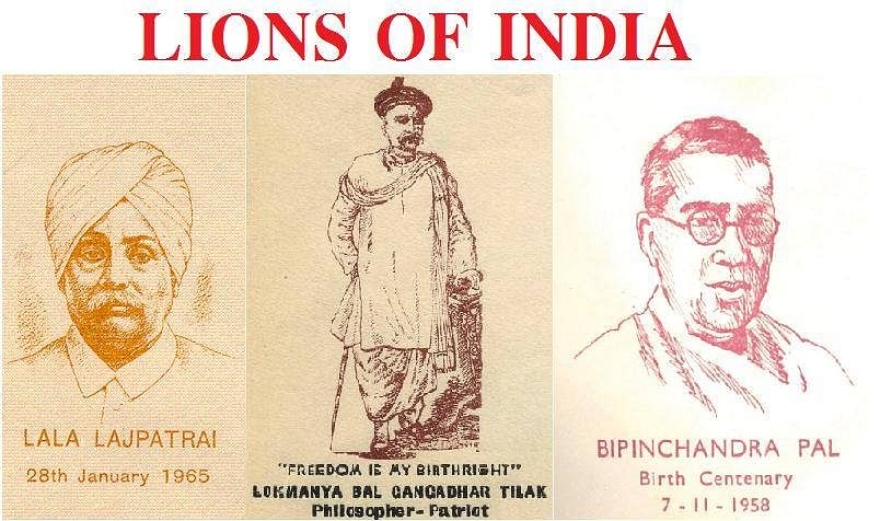 The triumvirate of Lala Lajpat Rai, Bal Gangadhar Tilak and Bipin Chandra Pal