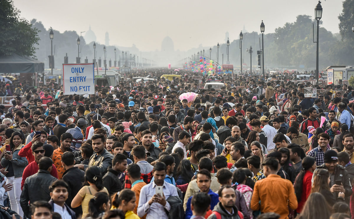 Visitors gather at India Gate on the first day of the New Year 2020.