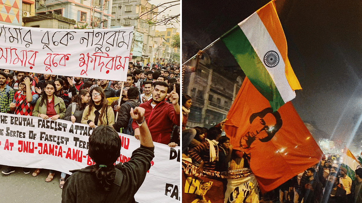 Students and ordinary citizens march in Kolkata against violent attacks in JNU by masked goons on the night of 5 January 2020.