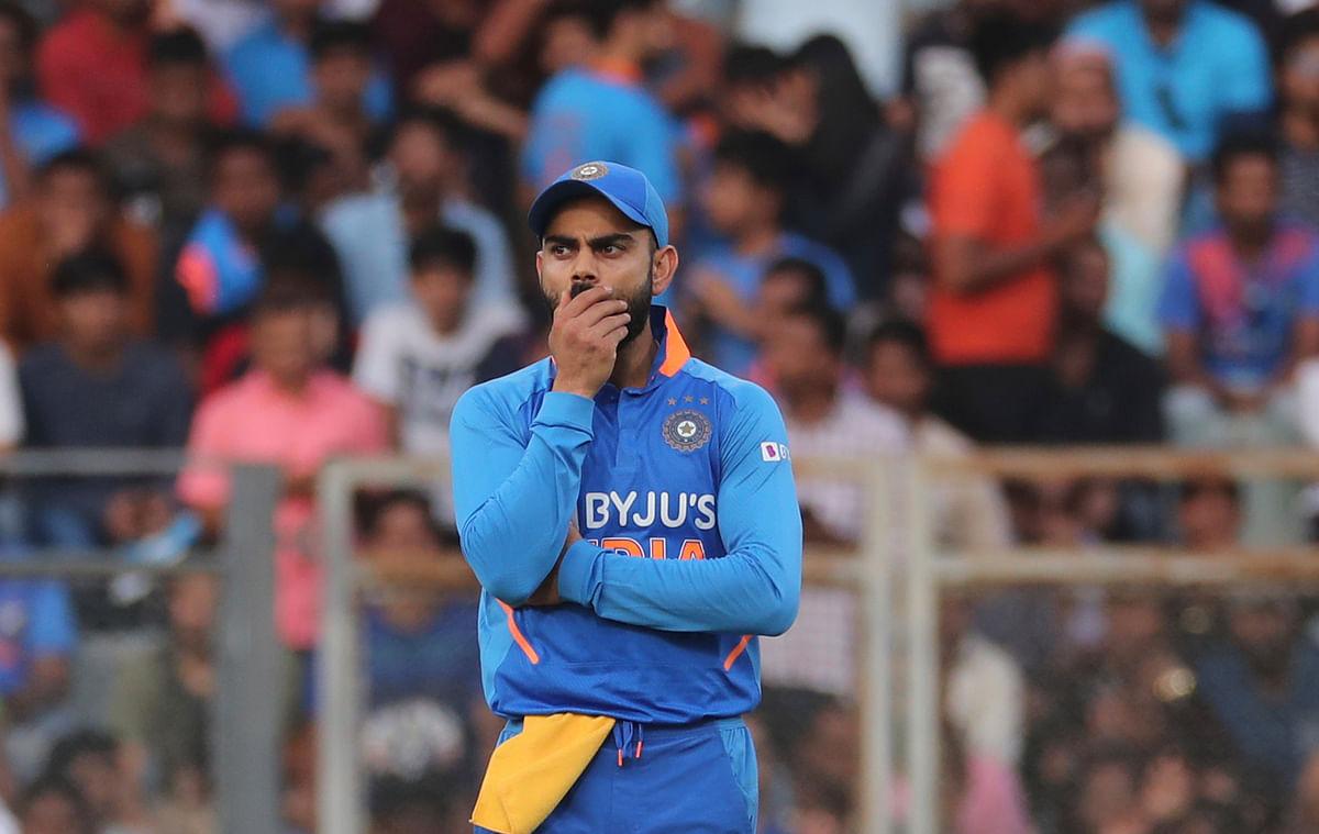 Virat Kohli reacts during Australia's innings in the Mumbai ODI.