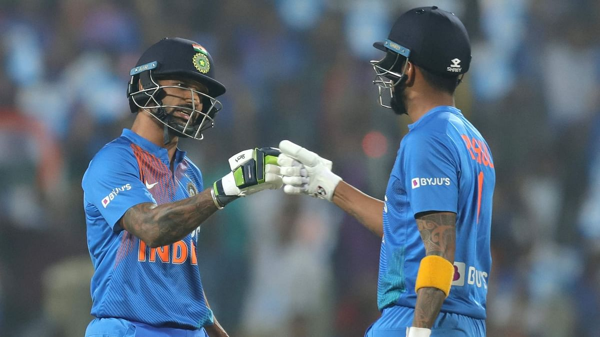 Shikhar Dhawan (left) and KL Rahul (right) put up 97 runs for the opening wicket as India beat Sri Lanka in the third T20I in Pune on Friday.