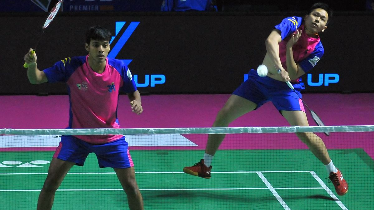 Hendra Setiawan and Chirag Shetty of Pune 7Aces in action.