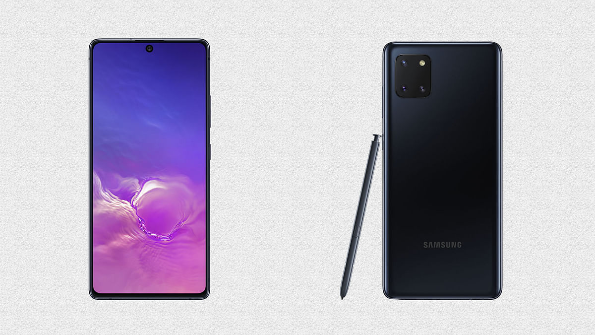 The Samsung Galaxy S10 Lite (left) and the Galaxy Note10 Lite (right)