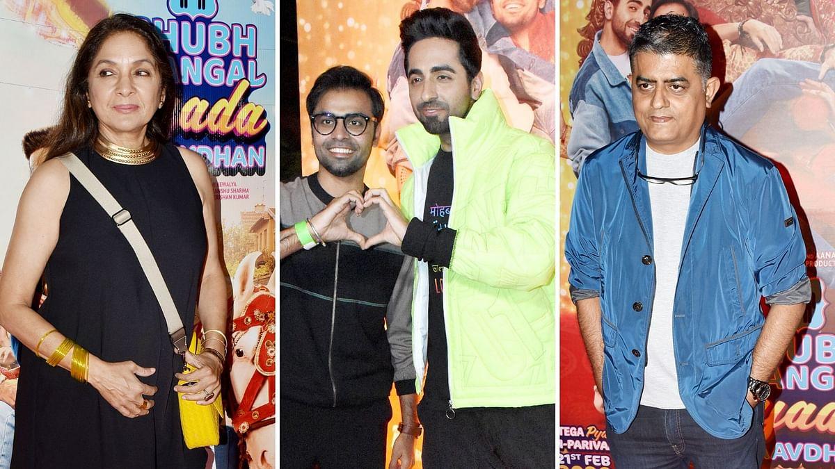 Pics: Ayushmann, Neena Gupta Celebrate Shubh Mangal Zyada Trailer