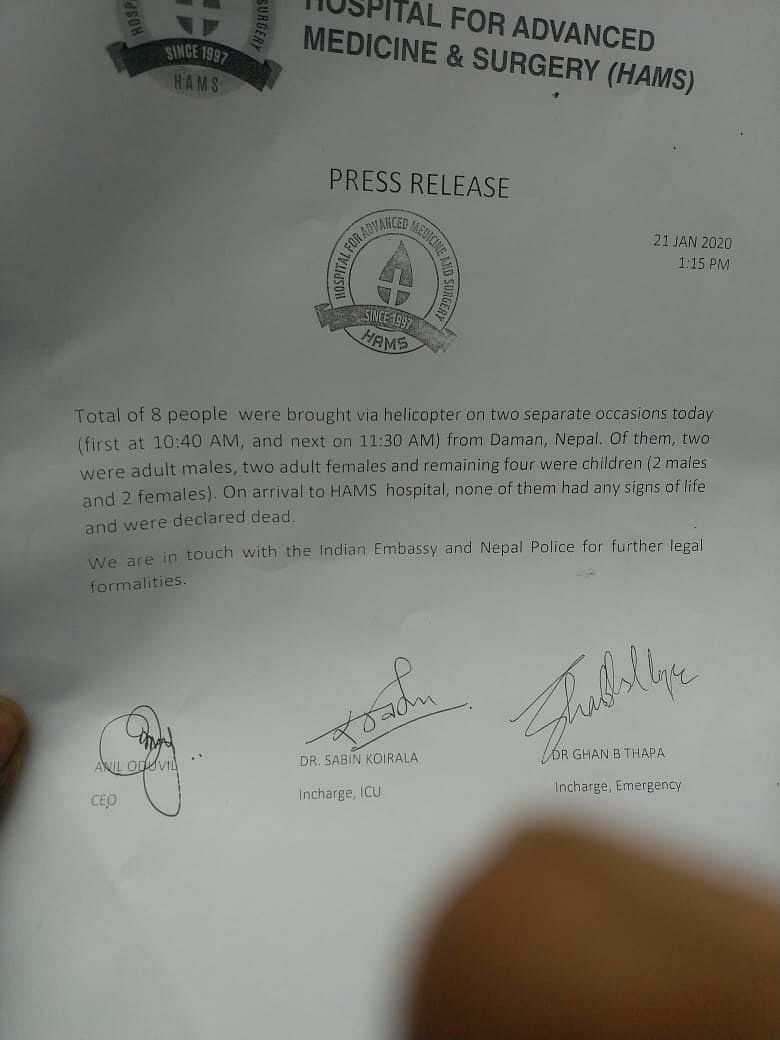 A statement issued by HAMS Hospital, Kathmandu, where the tourists were declared dead after being found in the hotel room.