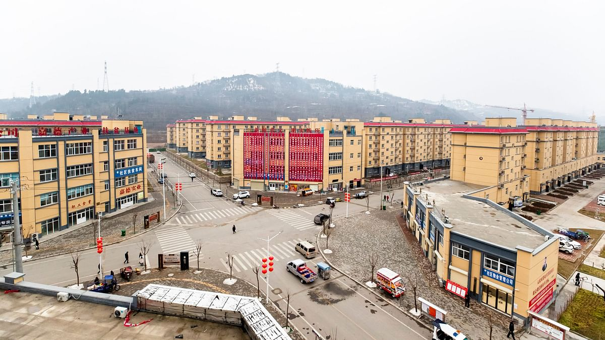 Xingxianli Community, a resettlement site for relocated poor people in Lushi County. The resettlement community is four kilometers away from the downtown area of the county.