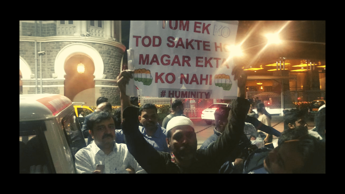 Mohammad Ikram, a 46-year-old fashion designer, at the Gateway of India protest.