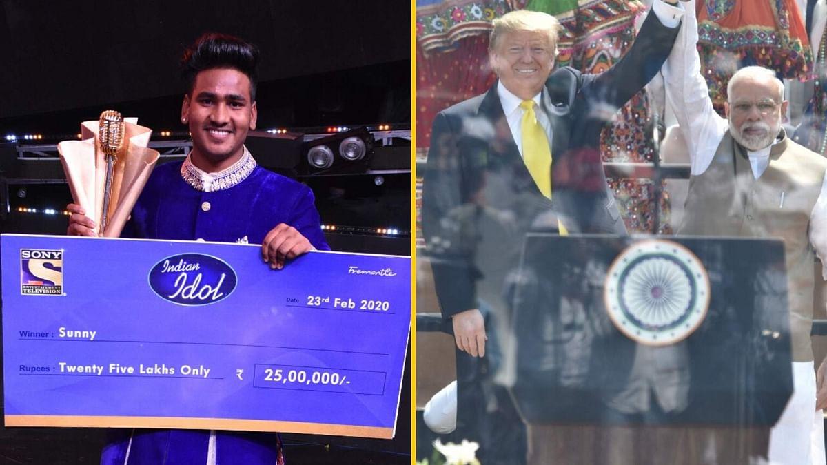 Sunny Hindustani has won <i>Indian Idol 11</i>; Donald Trump and Narendra Modi at Motera Stadium in Ahmedabad.