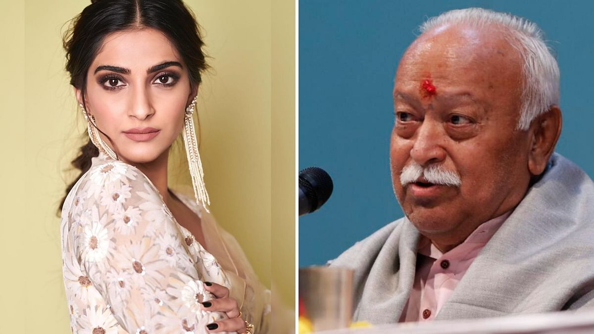 Sonam Kapoor (L) and Mohan Bhagwat (R)