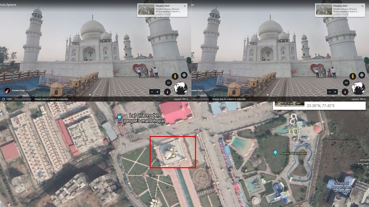 Google Earth showed us a Taj Mahal-like structure in People's Mall (highlighted in red).