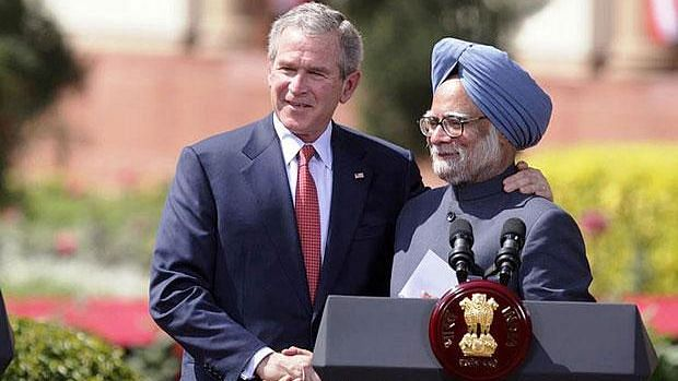 Former US President George W Bush with former Prime Minister Manmohan Singh in 2006 at Hyderabad House in New Delhi.