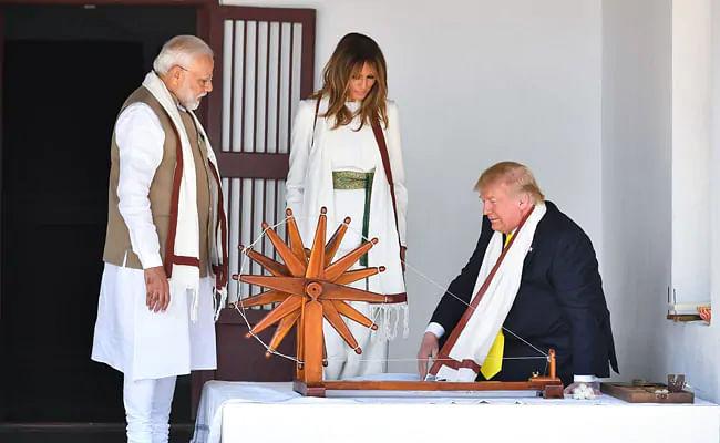 Melania Trump at Sabarmati Ashram in Ahmedabad.
