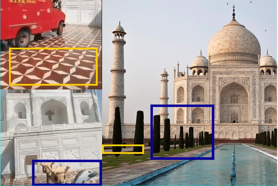 Left: Visuals from viral video. Right: Taj Mahal, Agra.