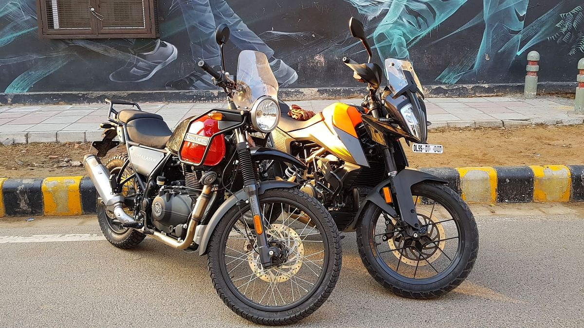 The KTM 390 Adventure has a taller seat height than the Royal Enfield Himalayan.