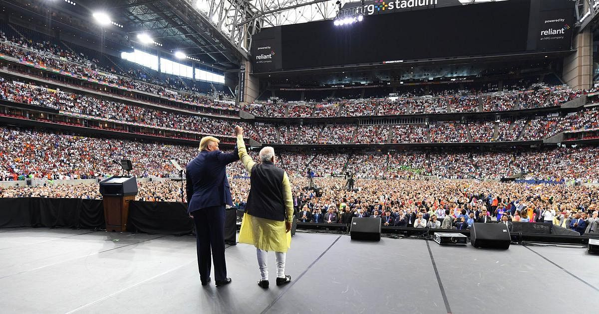 Modi and Trump at the rally in Houston in September 2019.