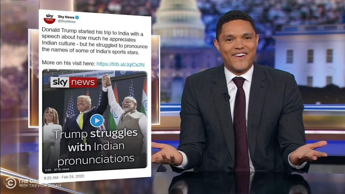 Trevor Noah took on US President Trump botched up speech in India.